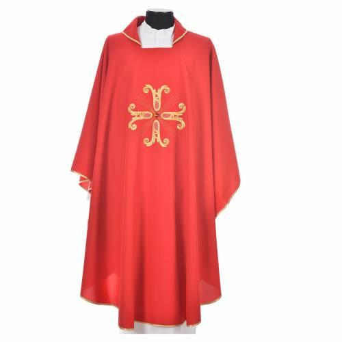 Chasuble liturgique croix dorée et perle verre s5