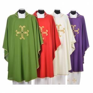 Chasuble liturgique croix dorée et perle verre s1