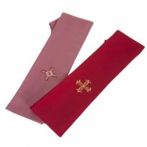Chasuble liturgique laine rouge et rose s7