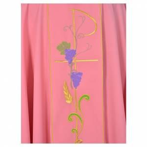 Chasuble liturgique rose 100% polyester Chi-Rho épis raisins s3