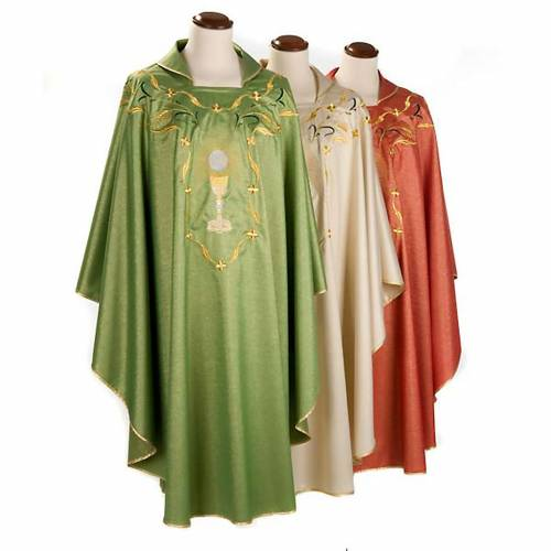 Chasuble with chalice and host, lurex s1