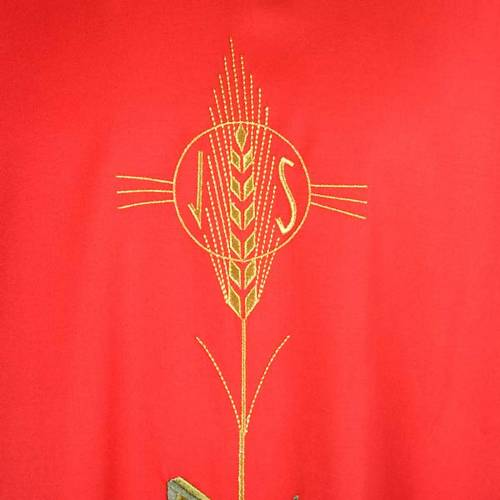 Chasuble with IHS symbol, ears of wheat and fish s3