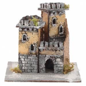 Crèche Napolitaine: Château deux tours et arc 15x15x15 cm crèche Naples