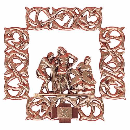 Chemin croix laiton cuivré 15 stations 30x30 cm s1