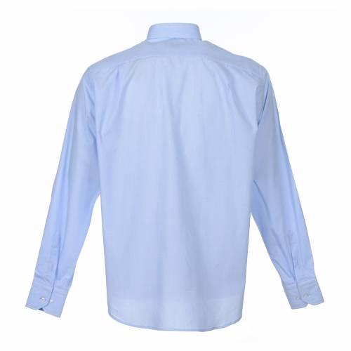 Chemise clergy m. longues Fil à fil Mixte coton Bleu clair s2