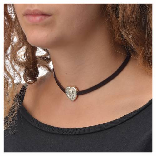 Choker necklace in dark brown leather with Virgin Mary pendant s3
