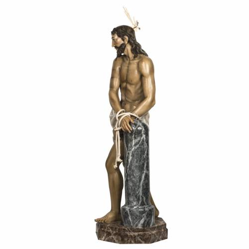 Christ at the Column 180cm in wood paste, antique decoration s19