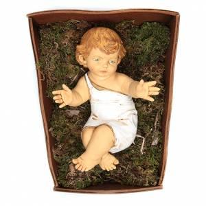 Krippenfiguren: Christkind Harz Fontanini mit Wiege aus Holz 85 cm
