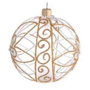 Christmas balls: Christmas Bauble flower white/gold 10cm