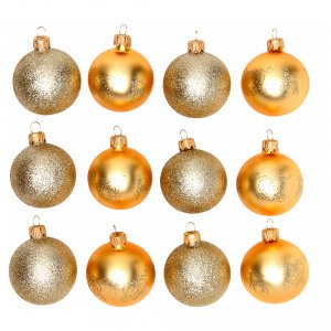 Christmas balls: Christmas bauble gold glass 60 mm set of 12 pieces assorted decorations