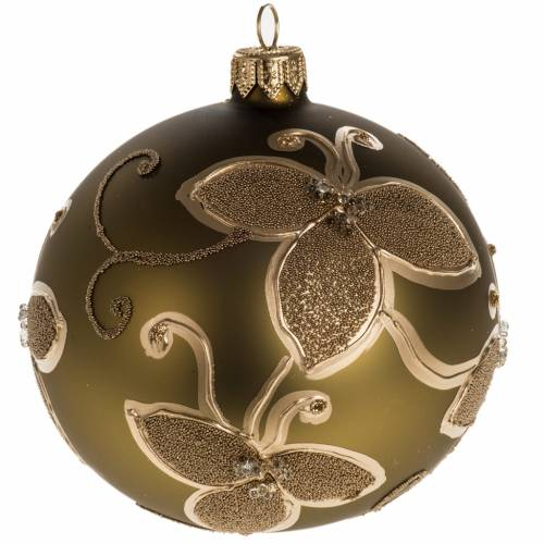 Christmas bauble, gold glass with decorations 10cm s1