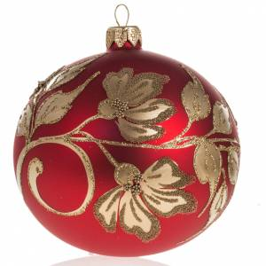 Christmas bauble in blown glass, red and gold decorations, 10cm s1
