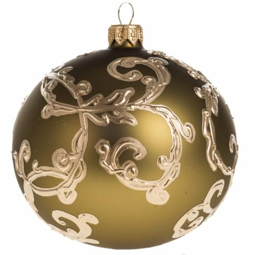 Christmas bauble in gold glass with decorations 10cm s1