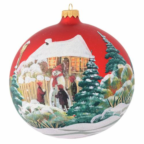 Christmas bauble in red blown glass with decoupage snowman 150mm s1