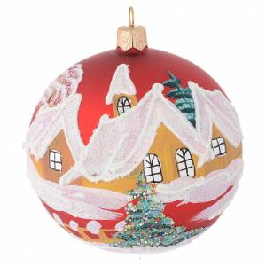 Christmas balls: Christmas bauble in red glass with houses and trees 100mm