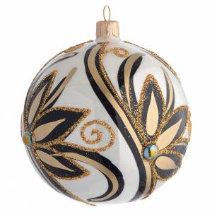 Christmas Bauble shiny black and gold 10cm s2