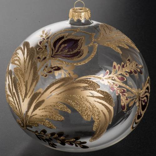Christmas bauble, transparent blown glass and fuchsia gold flowe s2