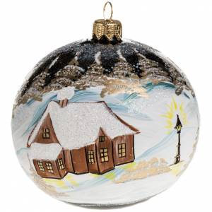 Christmas blown glass ball ornament with paysage 10cm s1