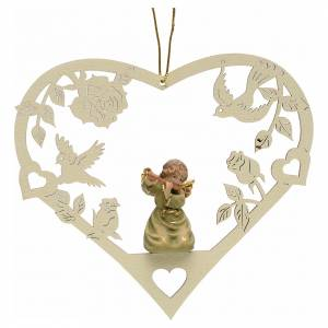 Christmas tree ornaments in wood and pvc: Christmas decor angel with flute on heart