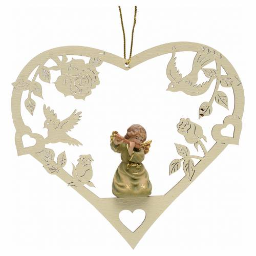 Christmas decor angel with flute on heart s1