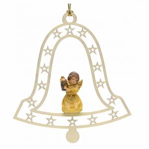Christmas tree ornaments in wood and pvc: Christmas decor angel with lamp on bell
