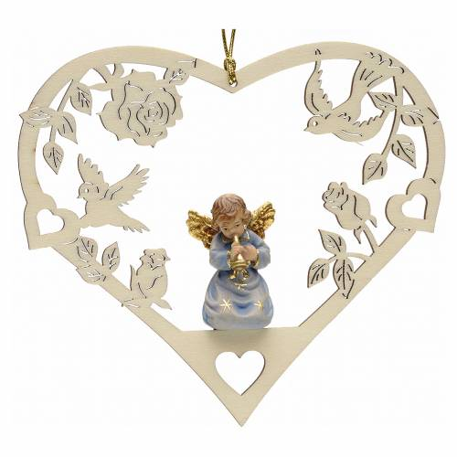 Christmas decor angel with trumpet on heart s1