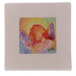 Christmas home decorations: Christmas miniature coloured angel in clay 10X10 cm