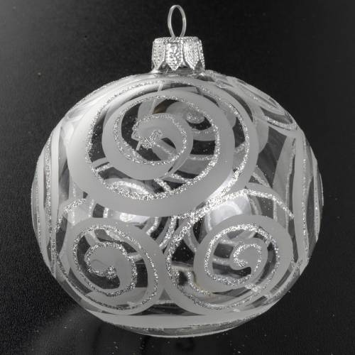 Christmas tree bauble, blown glass silver decorations 8cm s2