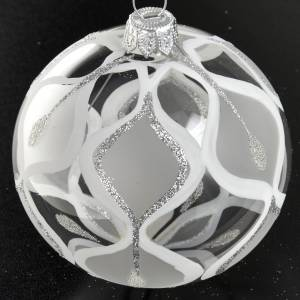 Christmas tree bauble glass with silver decorations, 8cm s2