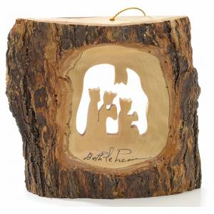 Christmas tree decoration in Holy Land olive wood, trunk with Wi s1