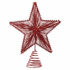 Christmas tree ornaments in wood and pvc: Christmas Tree topper, 25cm red star