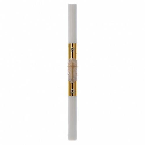 Cierge pascal blanc Croix fond doré 8x120cm s3