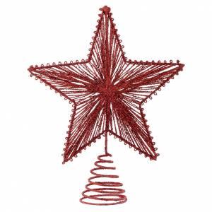 Décorations sapin bois et pvc: Cimier 25 cm étoile pour Sapin de Noël couleur rouge