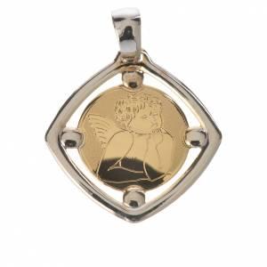 Pendenti, croci, spille, catenelle: Ciondolo bicolore angioletto in oro 750/00 - gr. 1,09