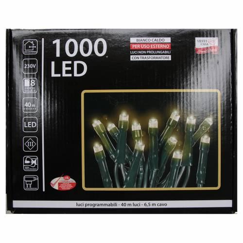 Éclairage Noël chaîne 1000 LEDS blanc chaud EXTÉRIEUR programmable s4