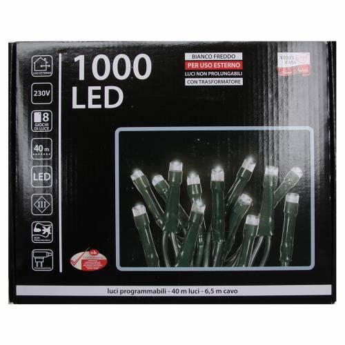 Éclairage Noël chaîne 1000 LEDS blanc glace EXTÉRIEUR programmable s4
