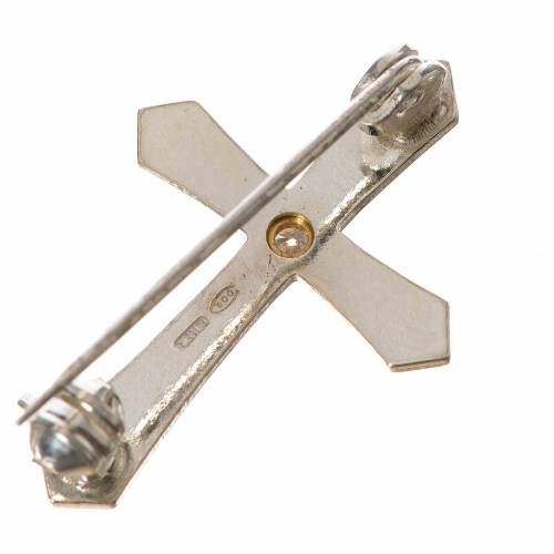 Clergy cross lapel pin with pointed edges in 800 silver zircon s3