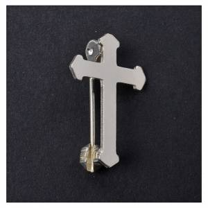 Clergy cross lapel pins: Clergy pointed cross pin in 800 silver