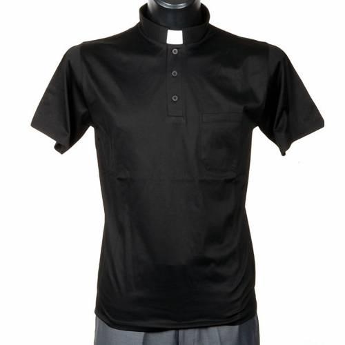 Clergy polo shirt black lisle thread s1