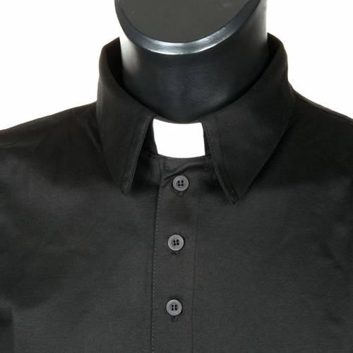 Clergy polo shirt black lisle thread s3