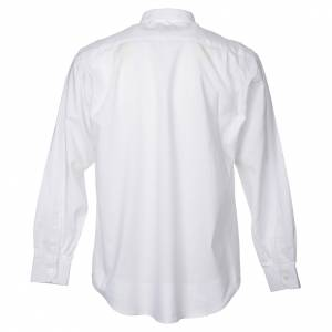 Clergy Shirts: STOCK Clergy shirt in white mixed cotton, long sleeves