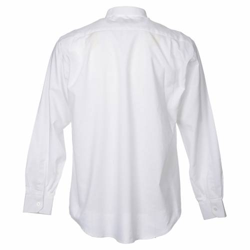 STOCK Clergy shirt in white mixed cotton, long sleeves s2