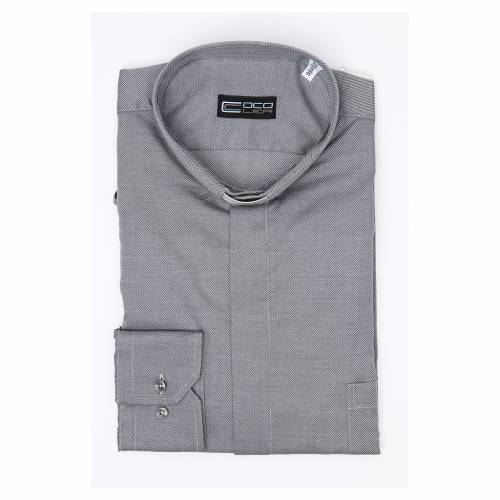 Clergy shirt Long sleeves easy-iron mixed cotton Grey s3
