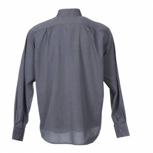 Clergy shirt long sleeves fil-à-fil mixed cotton Grey s2