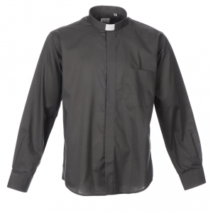 Clergy Shirts: STOCK Clergy shirt, long sleeves in dark grey mixed cotton