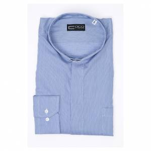 Clergy shirt long sleeves Prestige Line pure cotton Blue s3