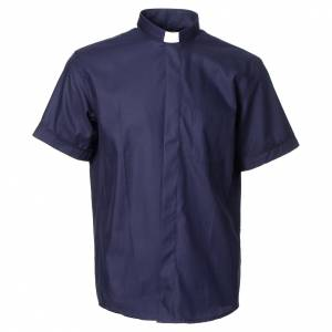 Clergy Shirts: Clergy shirt with short sleeves in blue cotton and polyester