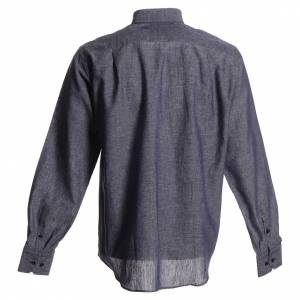 Clergy Shirts: Clergyman shirt in blue linen and cotton