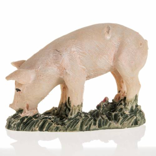 Cochon rose résine crèche Noel 10 cm s2