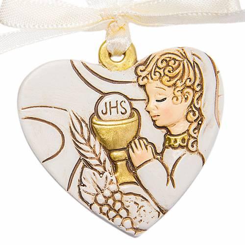 Coeur à suspendre Communion Fille 4 cm s1